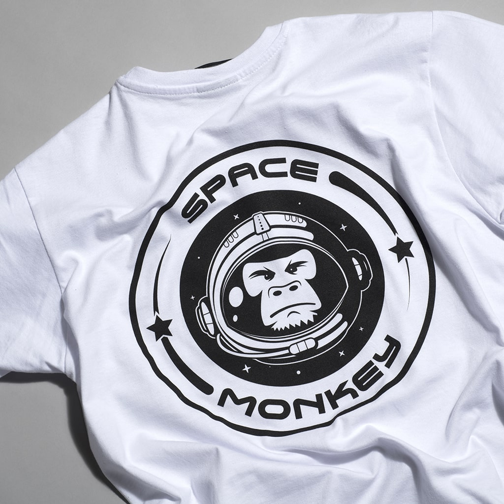 White Space Monkey T-Shirt Back Large Print