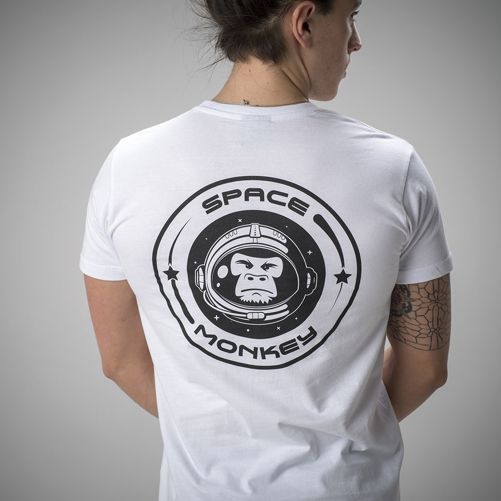 White Space Monkey T-Shirt with Large Back Print
