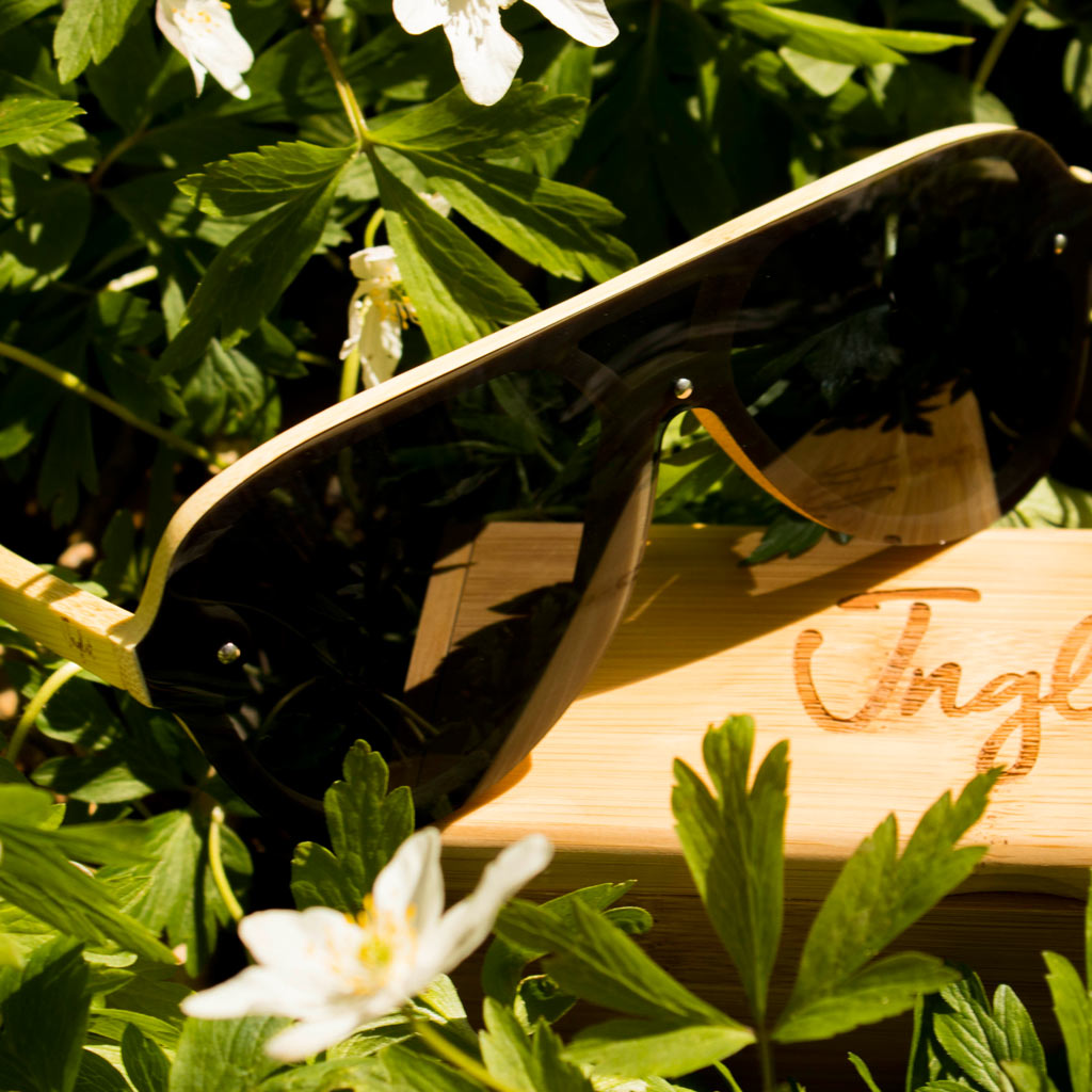 Grey flat topped Bamboo Sunglasses