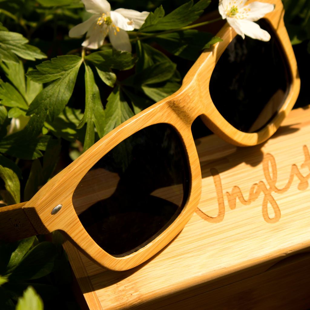 Junglist Sunglasses with grey lense made from Bamboo