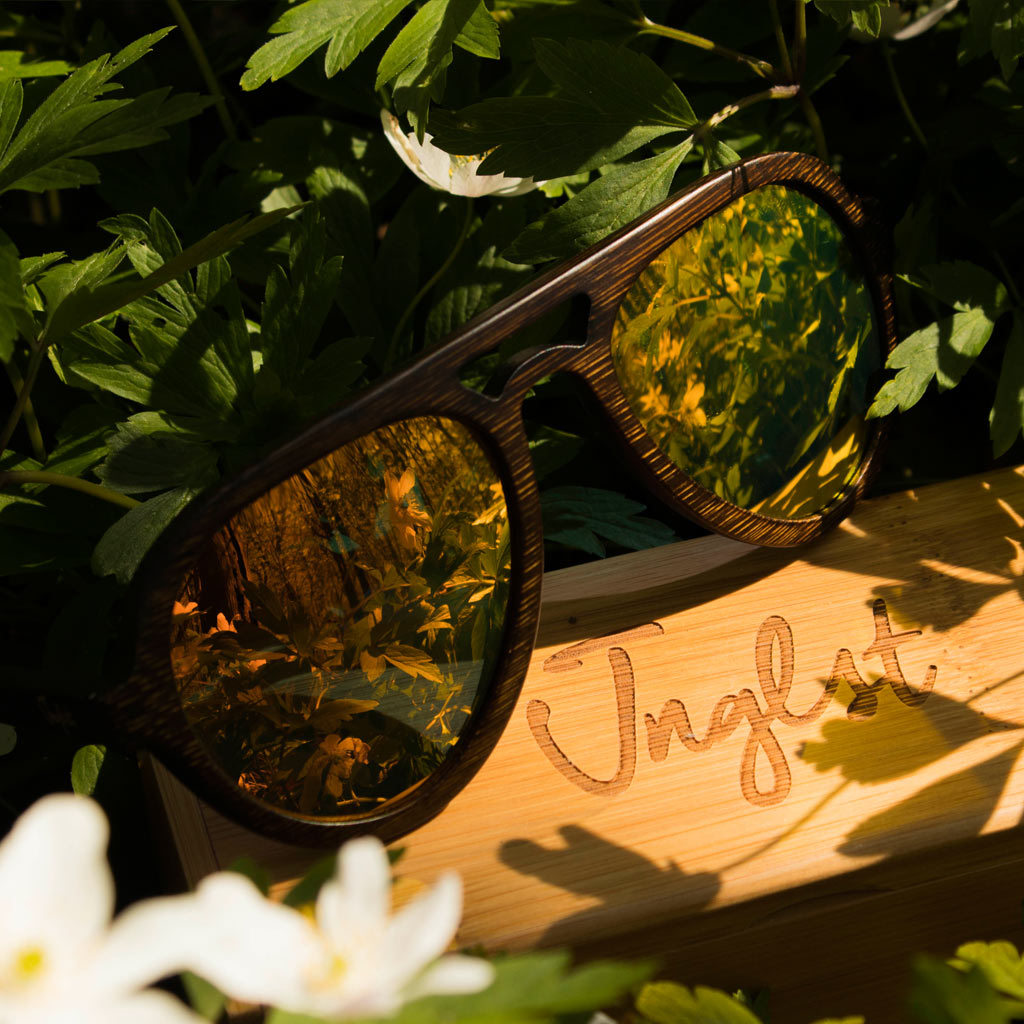 Orange Lense Bamboo Sunglasses