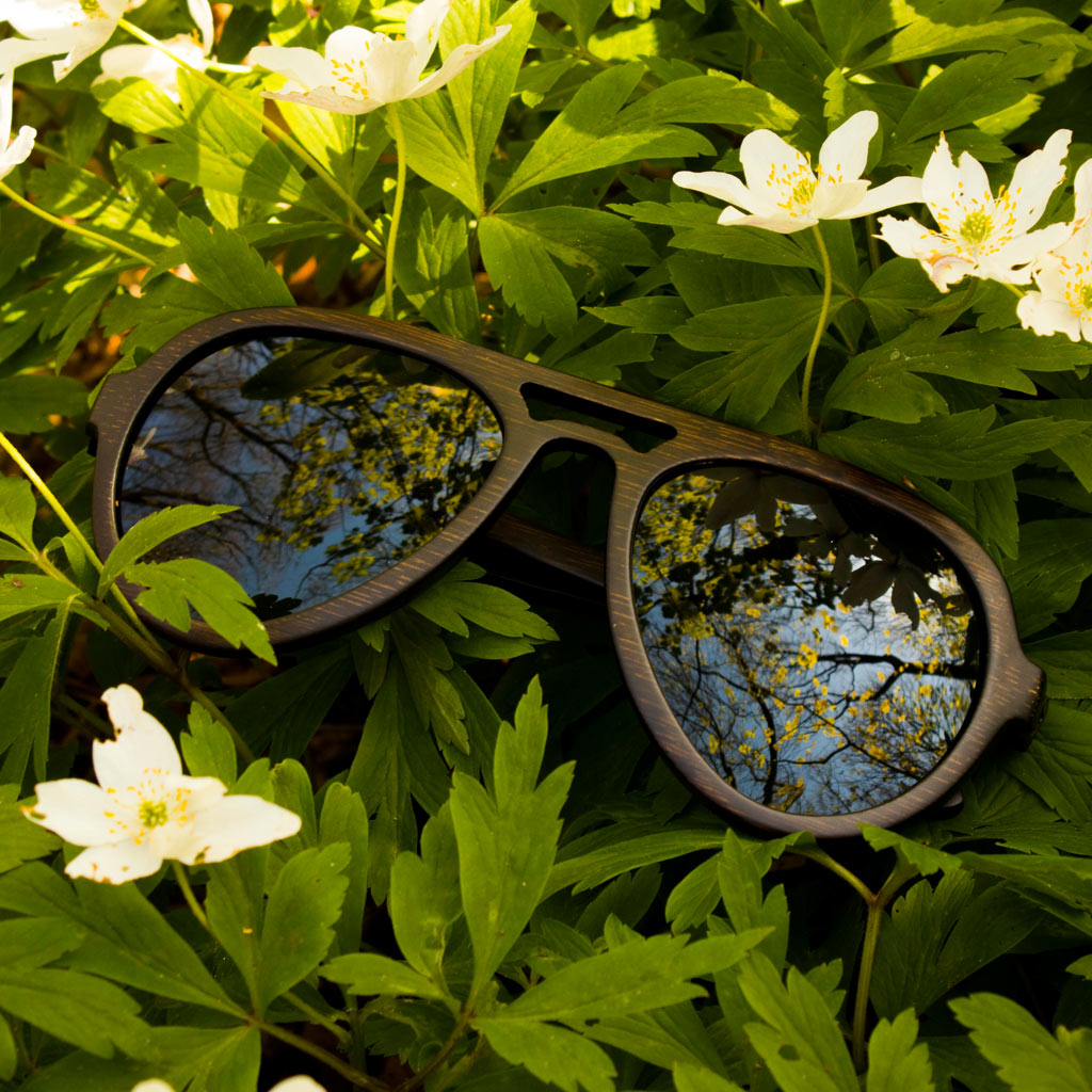 Dark Bamboo Sunglasses laying in Flowers