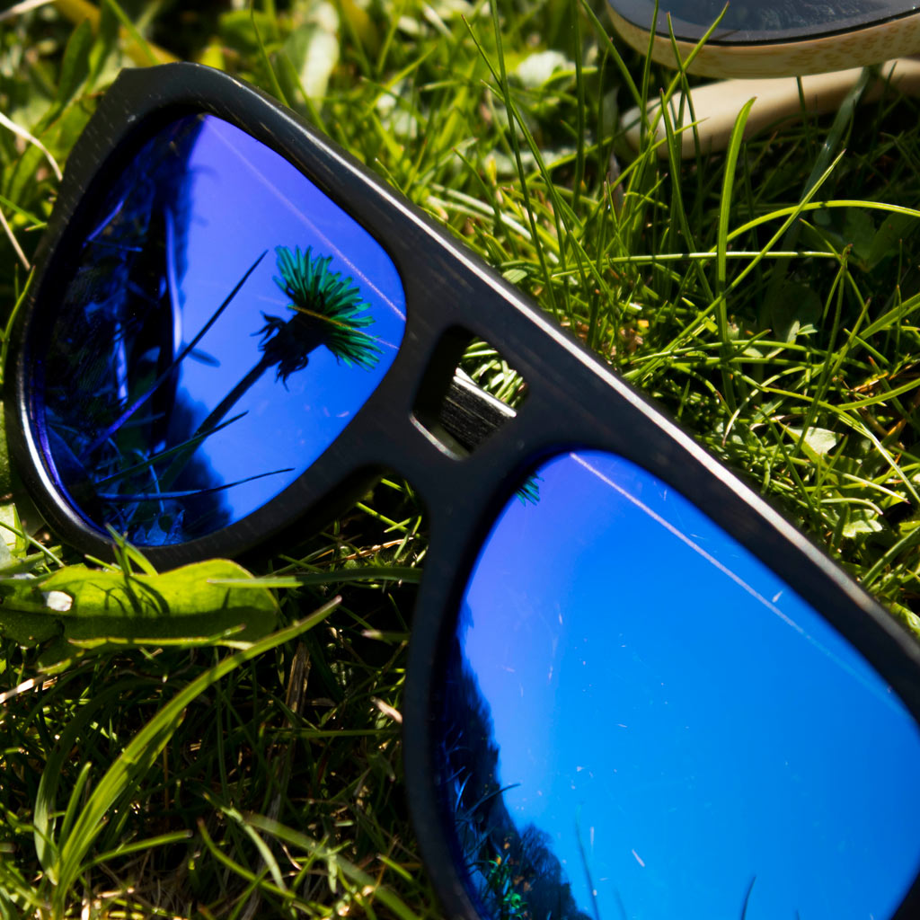 Blue Bamboo Sunglasses in Dark Bamboo