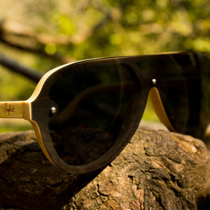 True Jnglst Bamboo Sunglasses with grey lenses