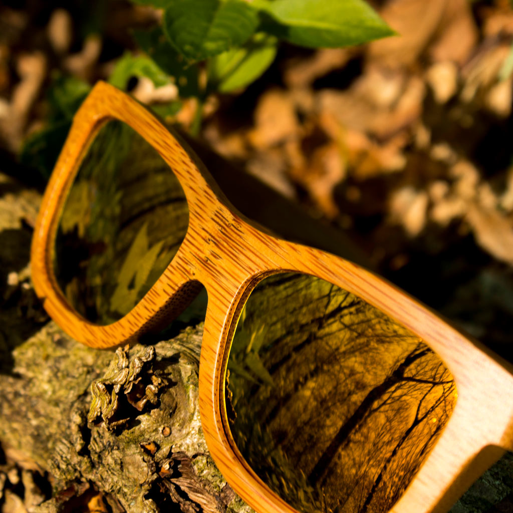 Orange Jnglst Sunglasses made from Bamboo