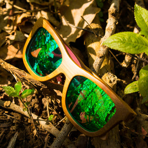 Original Jnglst Bamboo Sunglasses with green lenses
