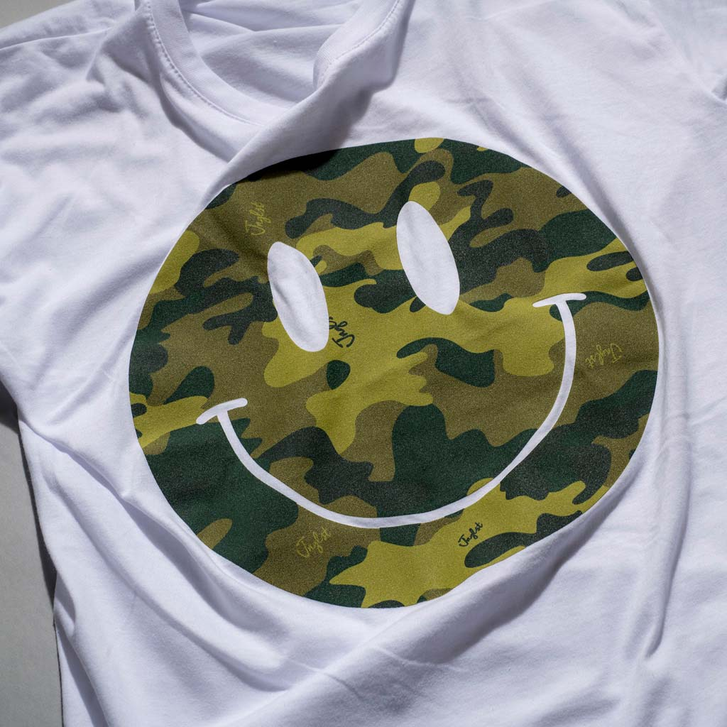 Camo Smiley Design on White Tee