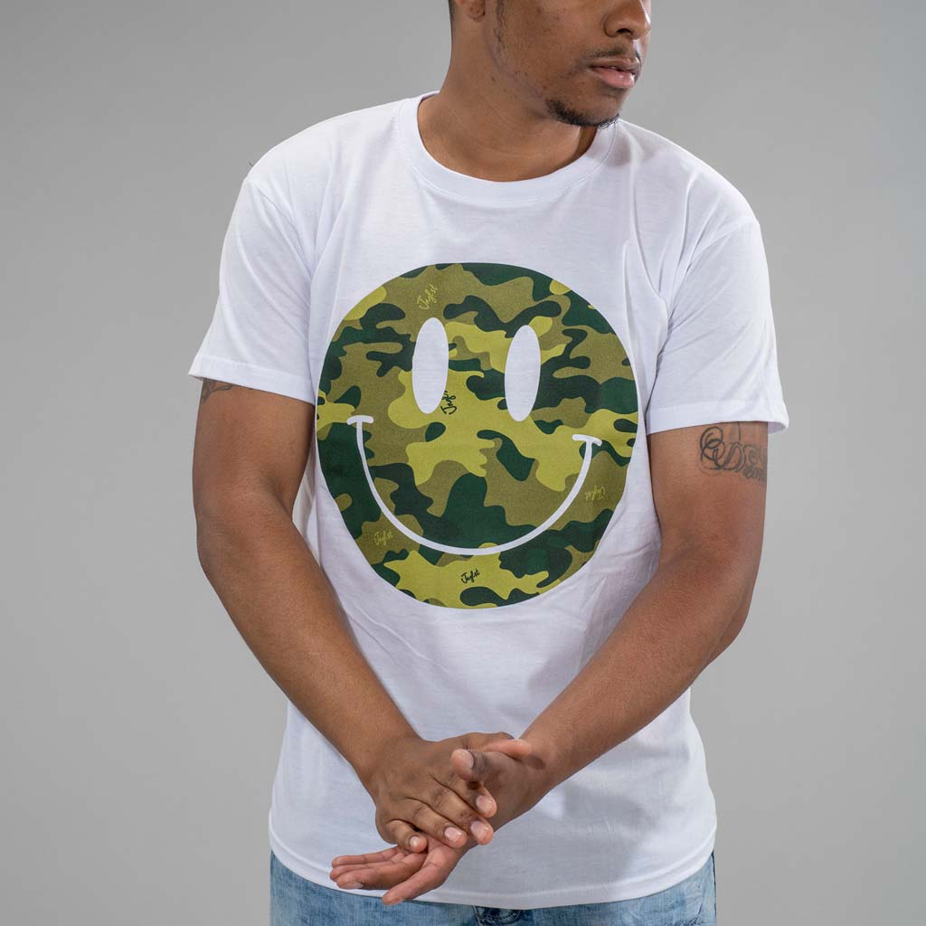 Camo Smiley front Shot White T-Shirt with Model