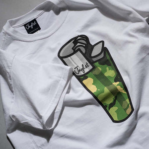 White Junglist Lighter Tee Close up