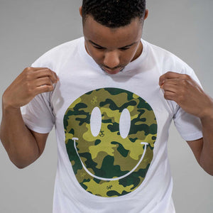 Camo Smiley White T-Shirt mid shot