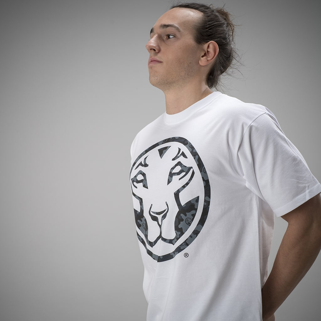 White Junglist Collab T Shirt with Dark Camo Logo