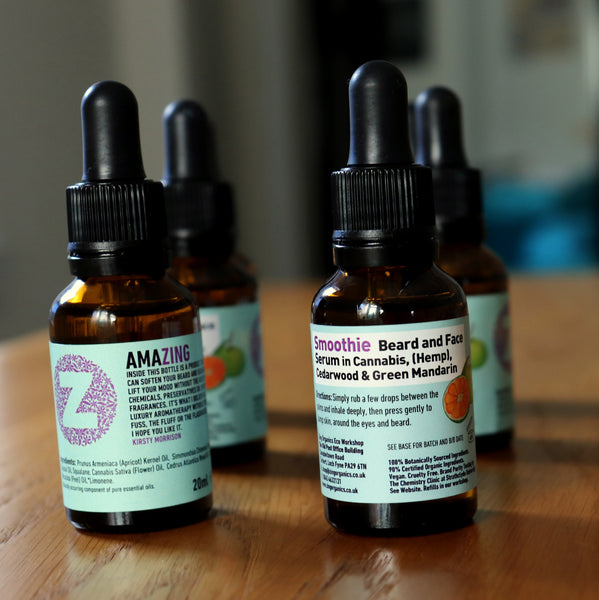 'Smoothie' Facial Serum + Beard Oil in Hemp (Cannabis Flower), Cedarwood and Green Mandarin