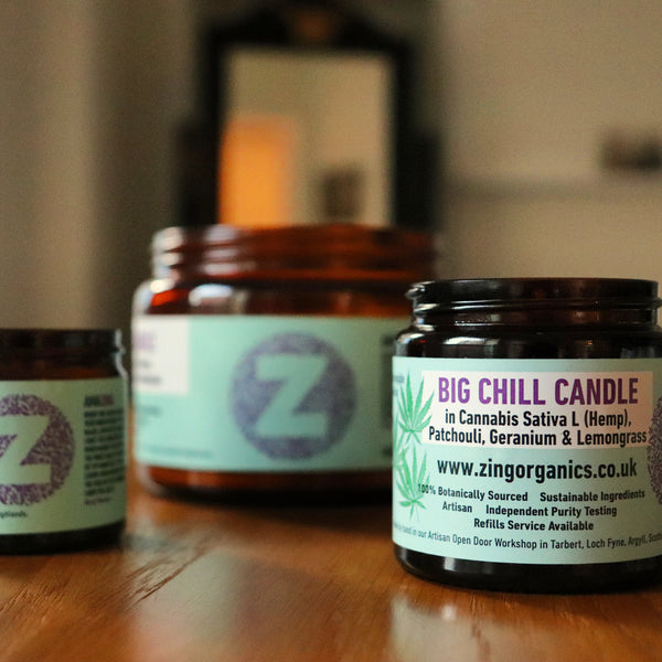 The Big Chill Candle in Hemp (Cannabis Flower), Patchouli, Geranium and Lemongrass.