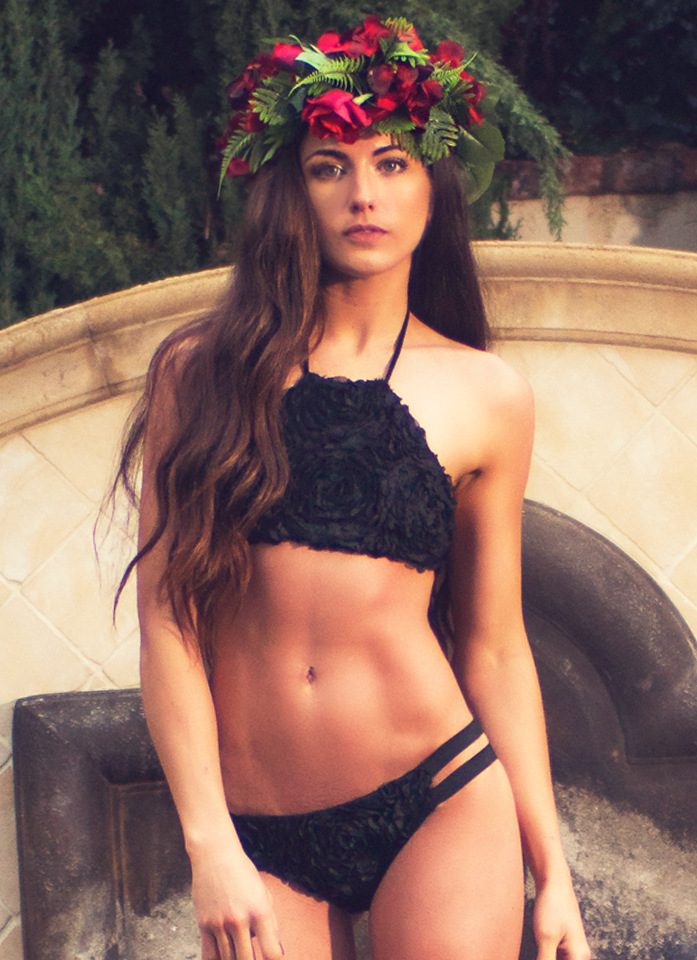 Baja Cheekies // Midnight Rosebud Lace - Cabana Anna Swimwear  - 1
