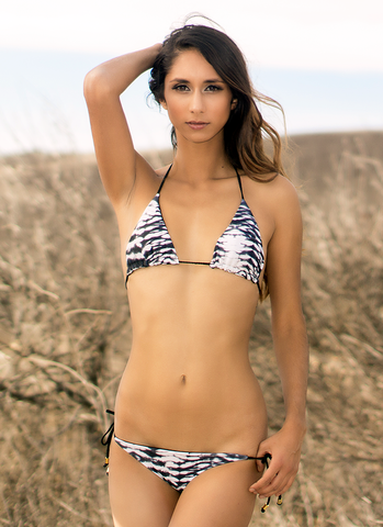 Moorea Triangle Top // Reversible Mirage and Ink - Cabana Anna Swimwear  - 1