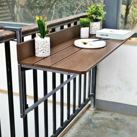 Creative Hanging Wooden Table for Balcony Railing