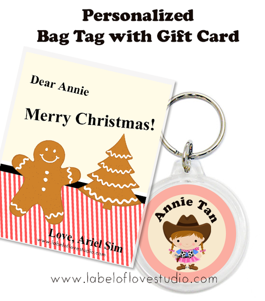 Christmas Bundle of 10 Bag Tags (Gingerbread man)
