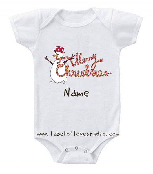 Happy Snowman Christmas Romper/ Tee
