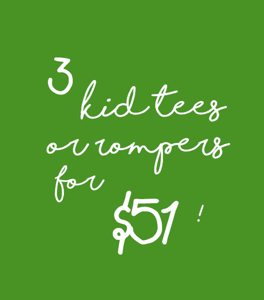 3 kid tees or rompers for $51