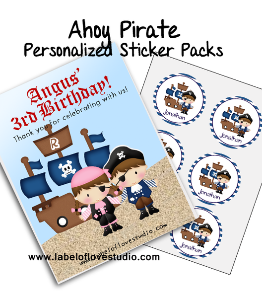 Ahoy Pirate Party Favor Name Stickers Pack