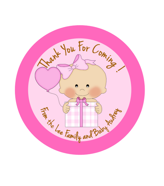 Baby Girl Birthday Label