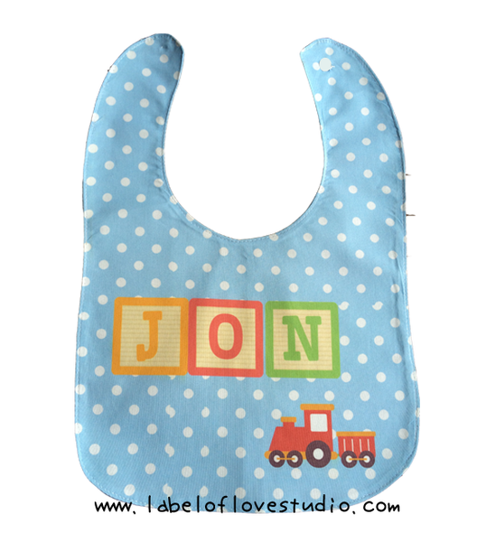 Rainbow Blocks in Blue Bib