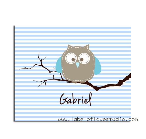 Blue Owl on Branch Big Personalized Blanket