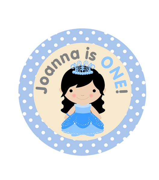 Princess Long Locks in Blue Birthday Labels