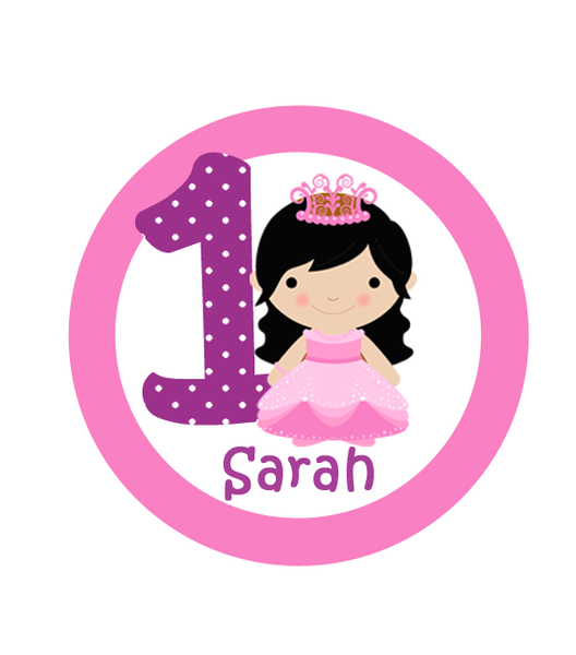 Princess with Age Birthday Labels