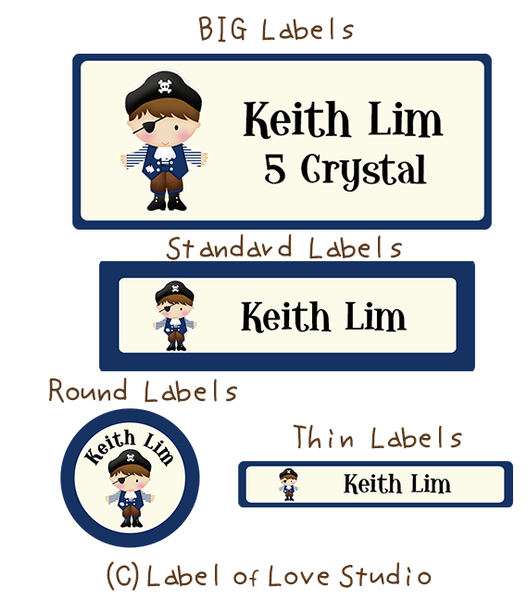 Lil' Pirate Boy Waterproof Labels