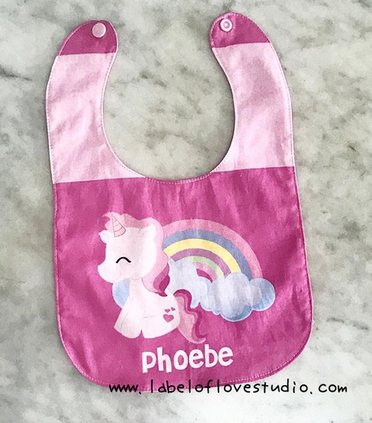 Bright Pink Unicorn Bib
