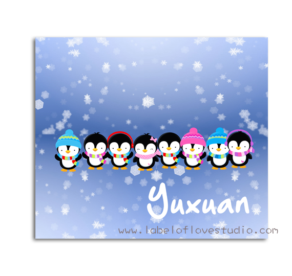Christmas Penguins Personalized Security Blanket