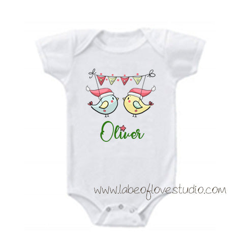 Sweet Christmas Birds Romper/ Tee