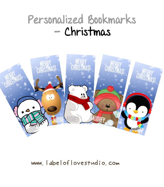 Personalized Bookmarks (Christmas Series)