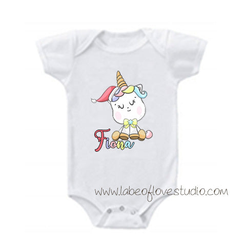 Happy Christmas Unicorn Romper/ Tee