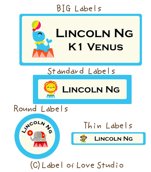 Happy Circus Waterproof Labels