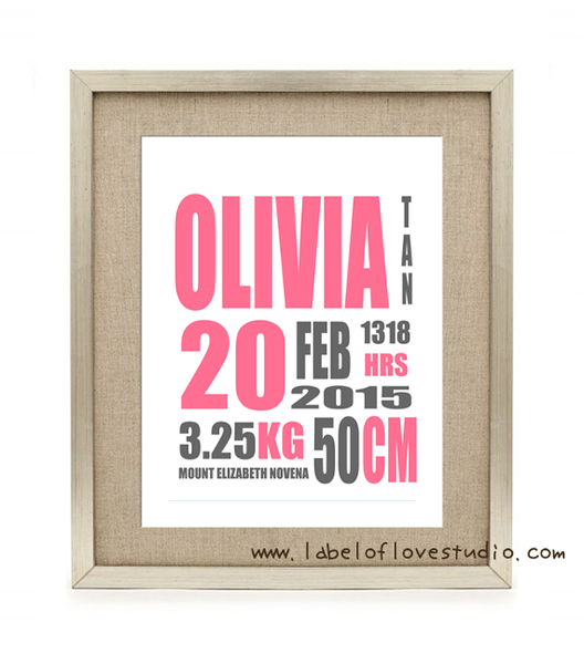Modern Birth Announcement - Girl
