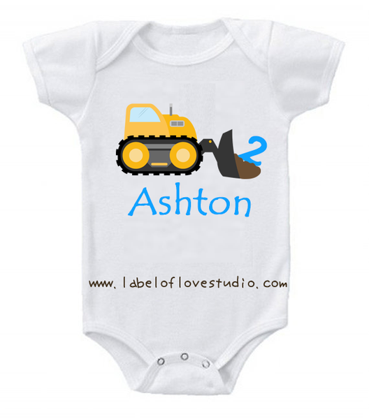 Bulldozer Birthday Romper/ Tee