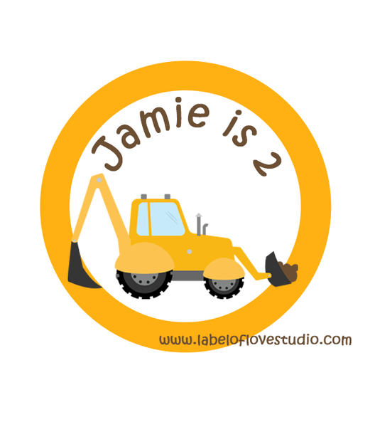Construction Vehicle Birthday Label