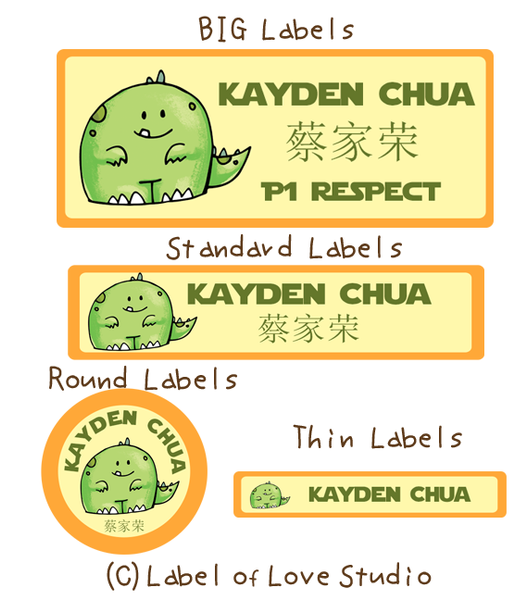 Cute Dino Waterproof Labels