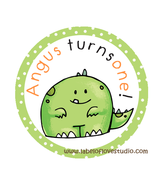 Cute Dino Birthday Labels