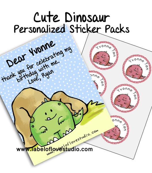 Cute Dino Party Favor Name Stickers Pack