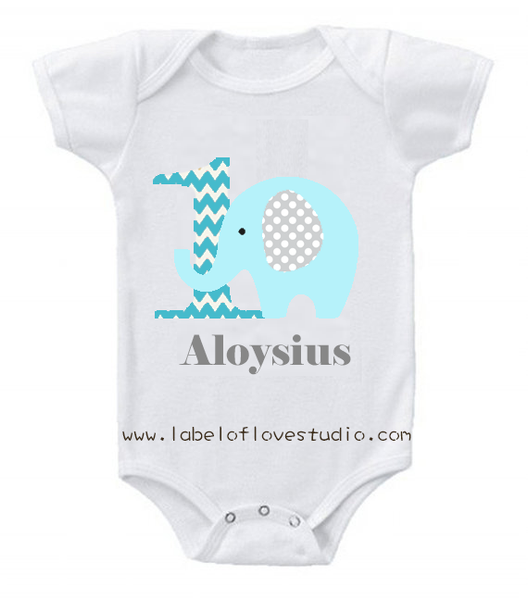 Blue Elephant Birthday Romper/ Tee