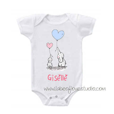 Sweet Elephant Father/mother and Child Romper/ Tee