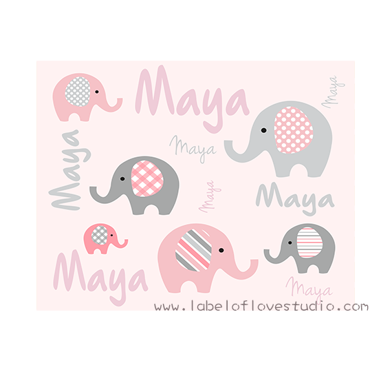 Happy Elephants Big Personalized Blanket