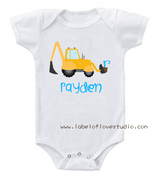 Little Builders Series: Excavator Romper/ Tee