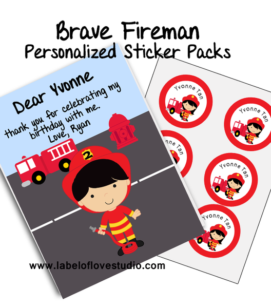 Brave Fireman Party Favor Name Stickers Pack