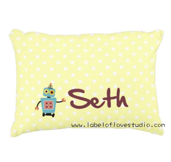 Geeky Robot Personalized Pillow