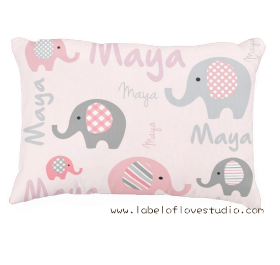 Happy Elephants Personalized Pillow