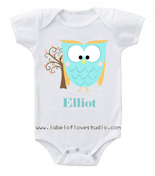 Hooty the Owl in Blue Romper/ Tee